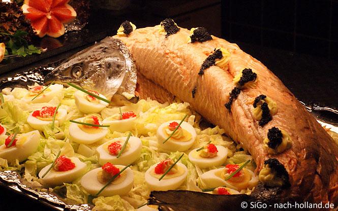 Fisch beim Abendbuffet DFDS Seaways