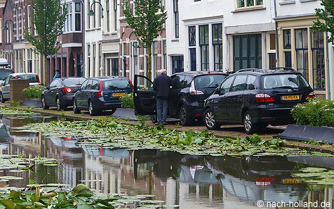 Parkplätze am Wasser in Holland