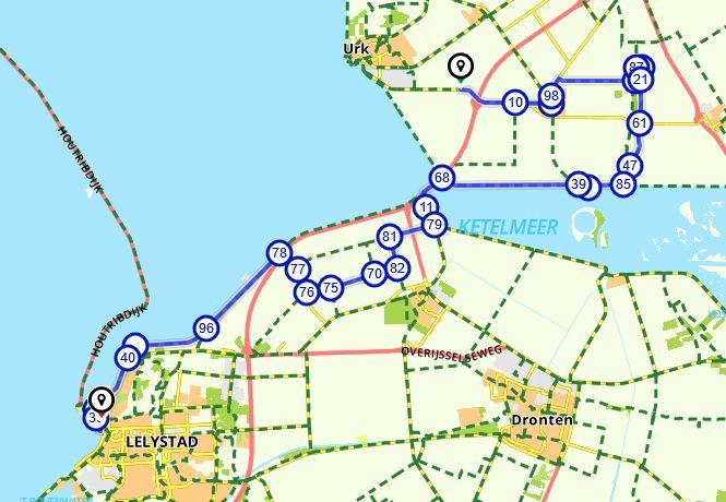 lekker radeln, route flevoland